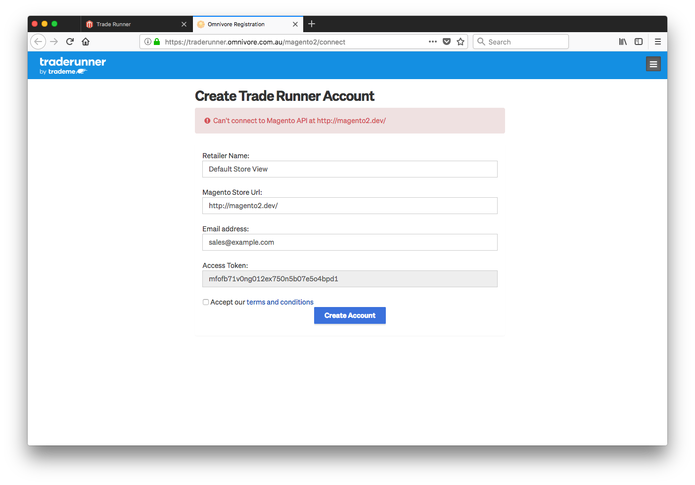 Magento 2 - connection troubleshooting : Trade Runner Support