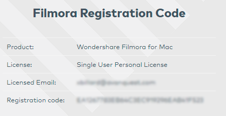 wondershare filmora licensed email and registration code for mac