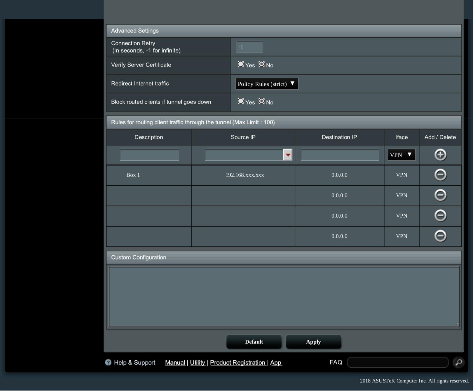 Example of working config on ASUS MERLIN firmware : VanishedVPN