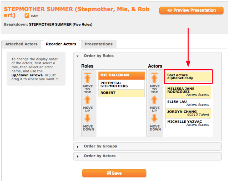 How to Reorder Actors in an Eco Cast : Breakdown Express