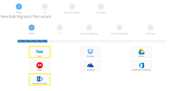 Configuring a Bulk migration from Box to OneDrive for