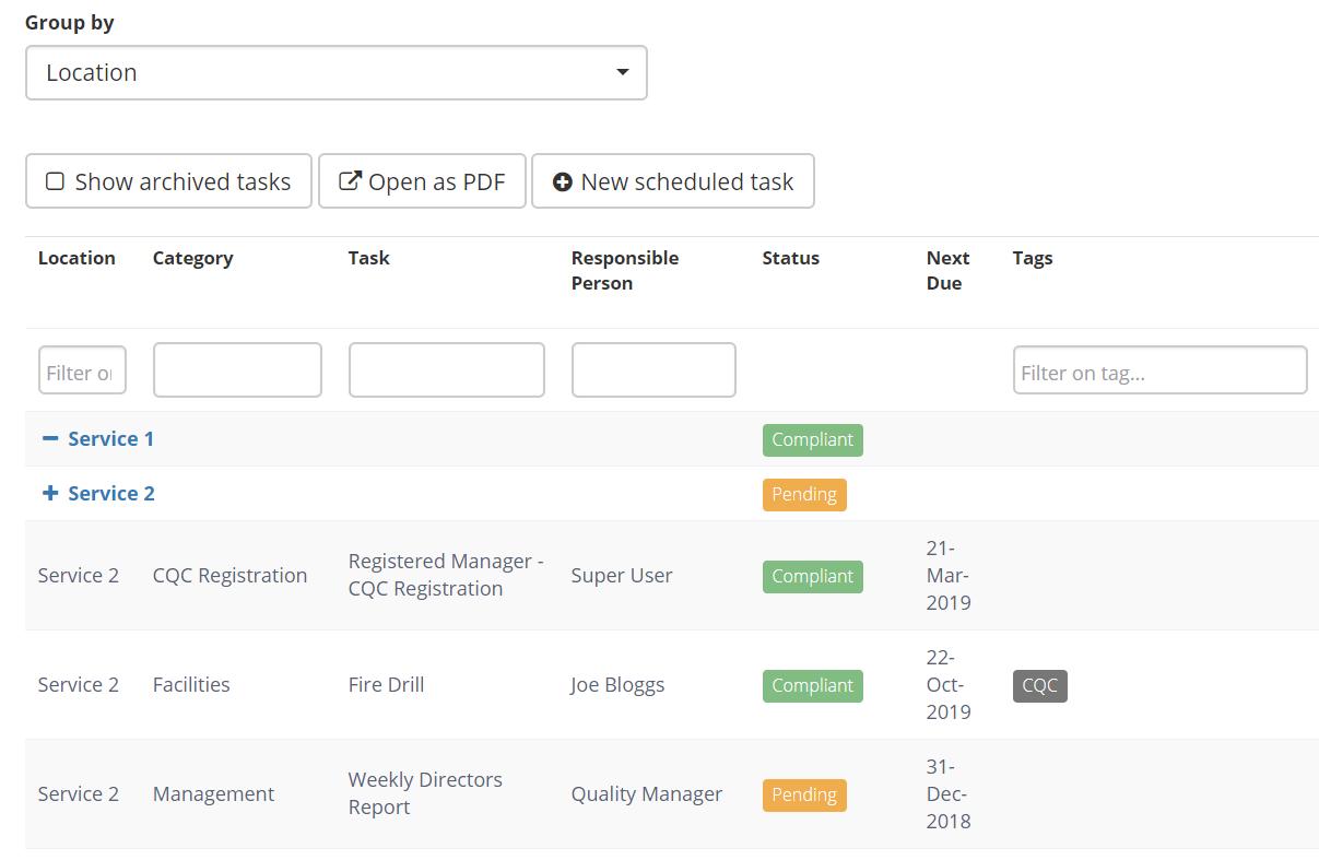 All The Tasks viewing scheduled tasks : radar support