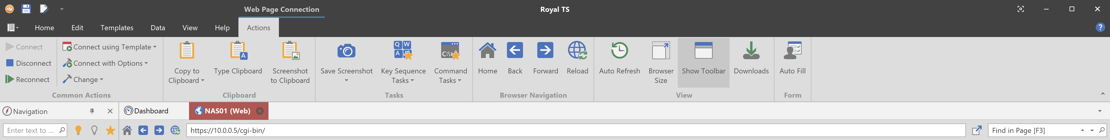 CTRL-F to find within Web Sites in Royal TS : Royal Apps