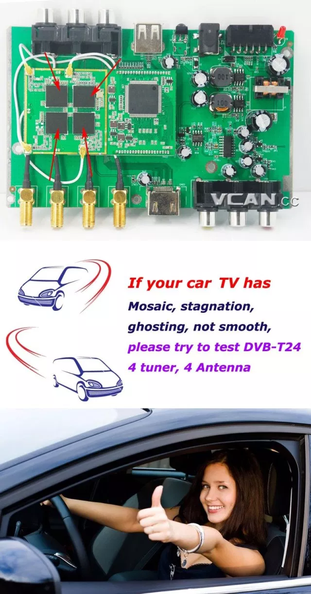 DVB-T24 Car DVB-T2 TV Receiver 4 Tuner 4 Antenna USB HDMI HDTV Russia High Speed