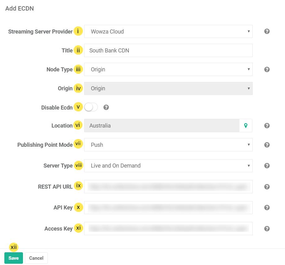 Configure ECDN Node using Wowza Cloud Streaming Server : VIDIZMO V6