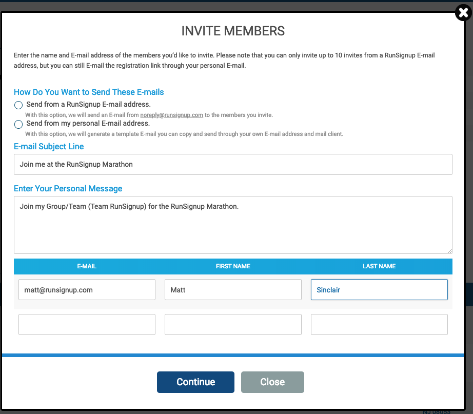 Invite Others To Join Your Group/Team : RunSignUp Helpdesk