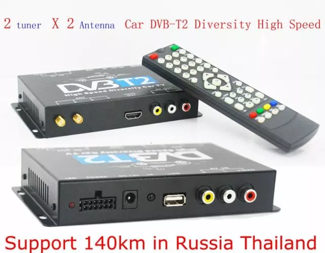 DVB-T22 2X2 Two tuner antenna car DVB-T2 Diversity High Speed Russia Thailand