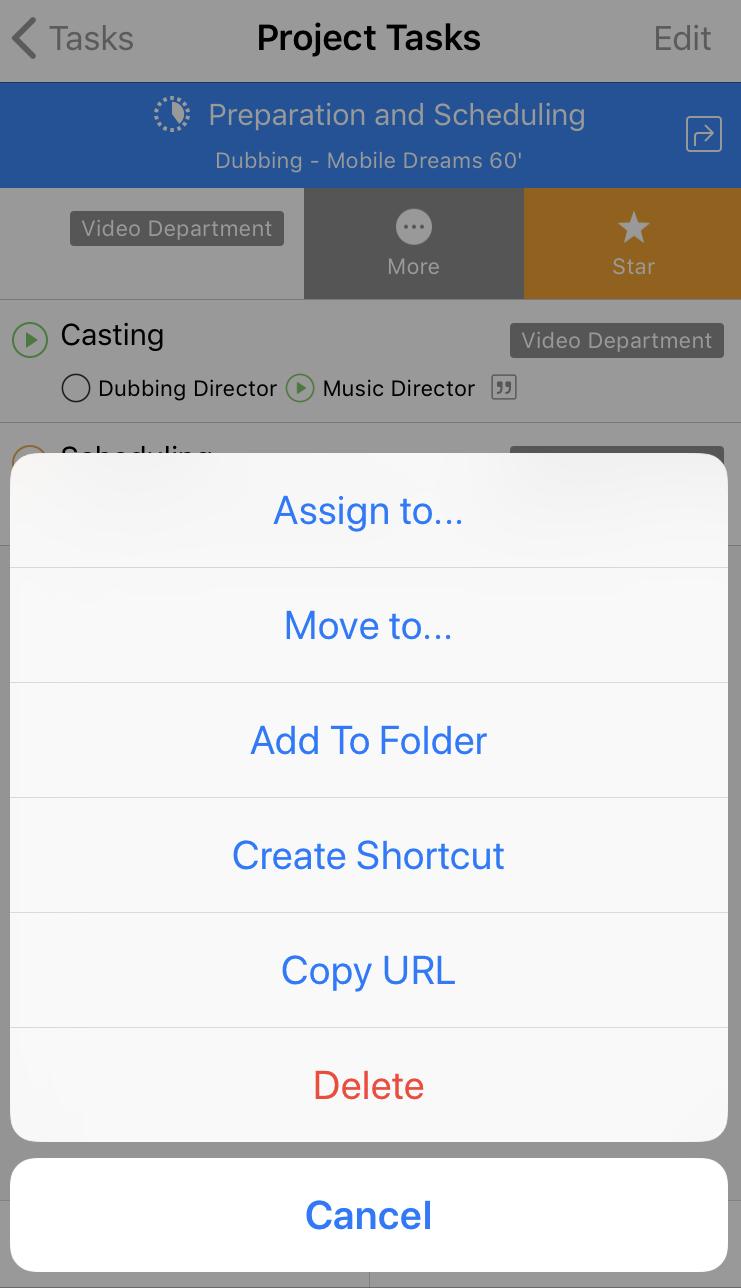 Folders on Cirkus iOS