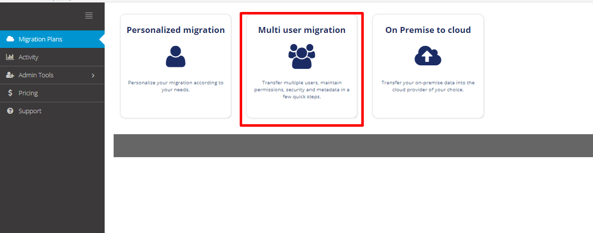 How to create a Multi user migration : Cloudsfer Support