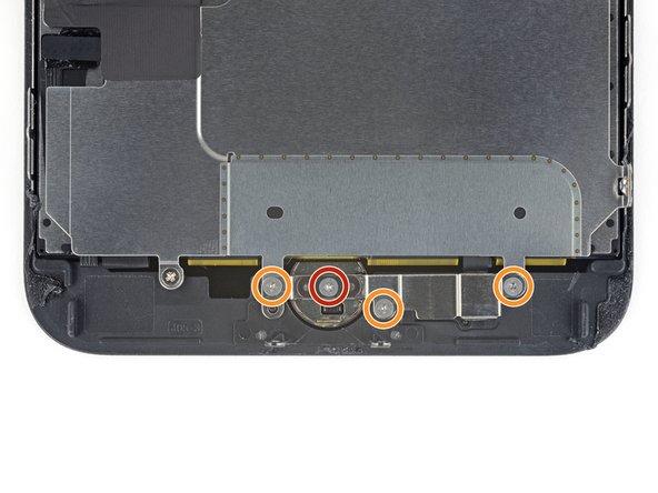 Retirez les quatre vis Y000 maintenant la fixation sur le capteur home/Touch ID :