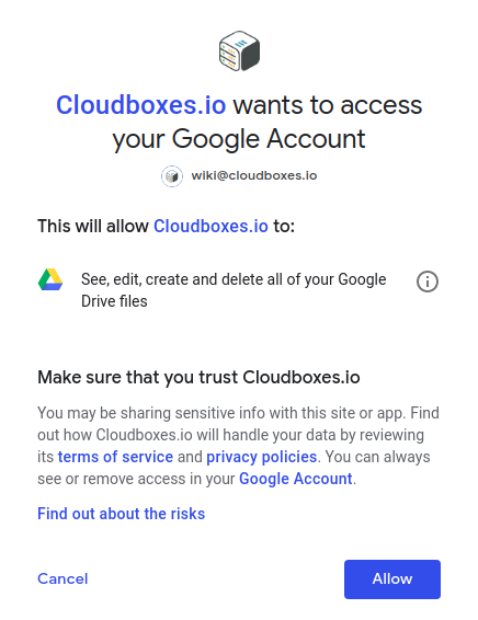 Grant Cloudboxes.io to access your Google Drive files.