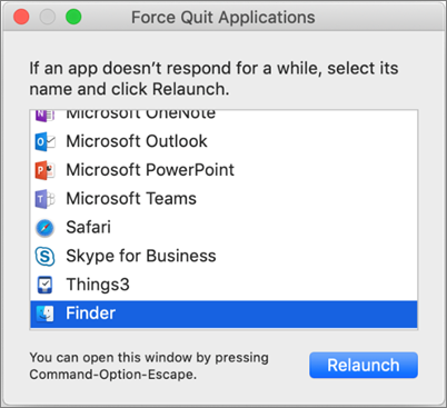 Screenshot of Finder in the Force Quit Applications dialog box on a Mac