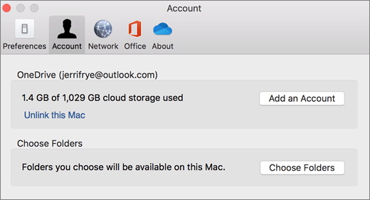 Screenshot of adding an account in OneDrive preferences on a Mac