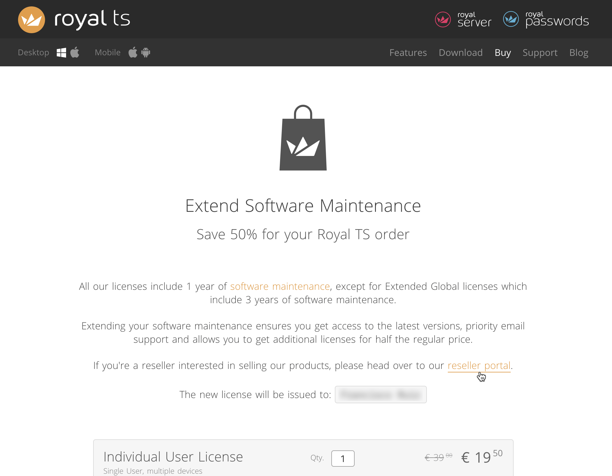 Extend Maintenance Using Reseller Account Royal Apps