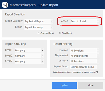 Screenshot of the set up of Automated Reports