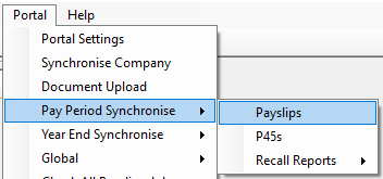 Screenshot to show Portal Payslip upload Menu
