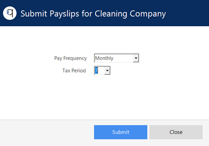 Screenshot to show Payslips upload period selection