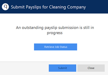 Screenshot to show option to retrieve job status for uploading payslips