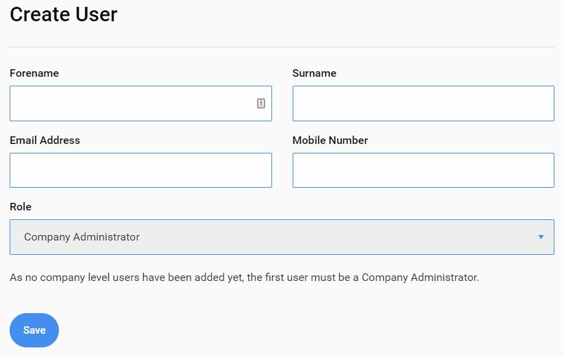 Screenshot to show adding company user details