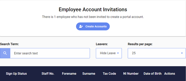 Screenshot to show creating accounts for employee users
