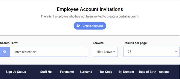 Screenshot to show creating accounts for employee users