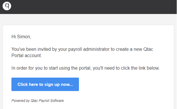 example QPortal invite email to employee users.