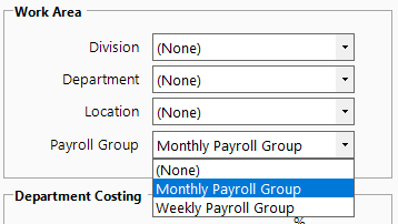 Screenshot to show adding payroll group to employee maintenance.