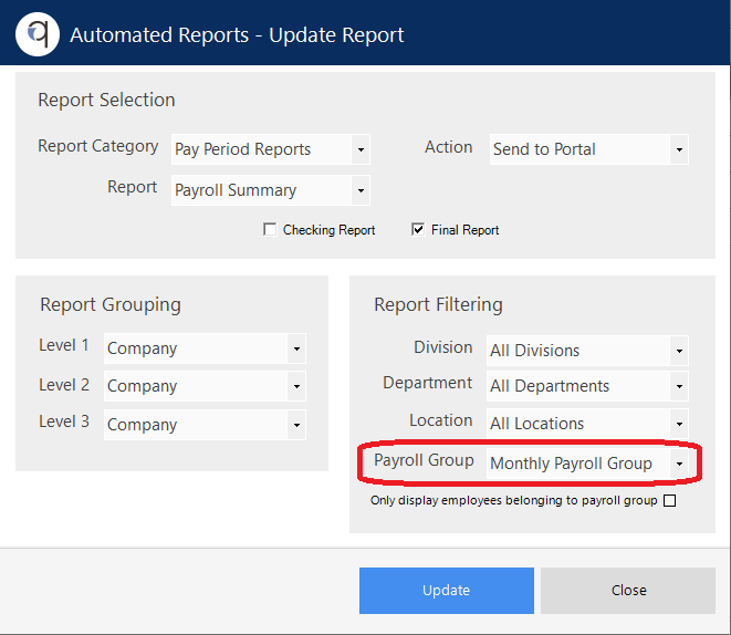 Screenshot to show set up of automated reports for payroll groups