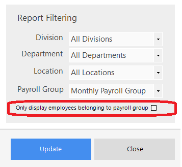 Screenshot to show payroll group set up in report filtering