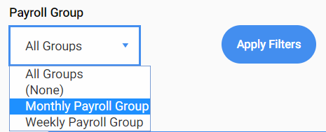 Screenshot to show filter to view only payroll groups