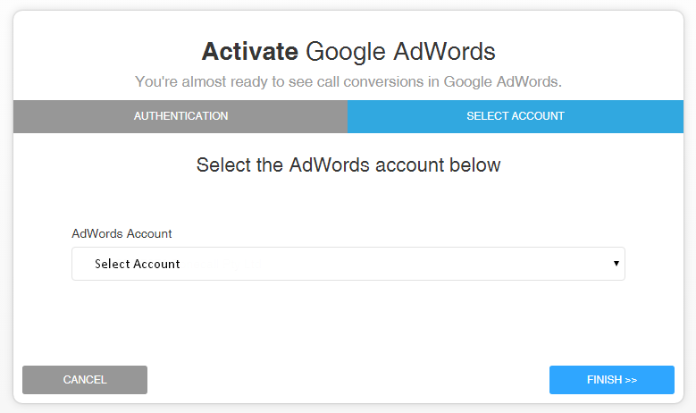 Select Your Google AdWords Account