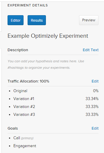 Edit the Goals in Experiment Details