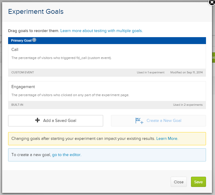 Experiment Goals Window
