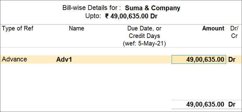 Bill-wise Details Screen For Advance TDS Payment