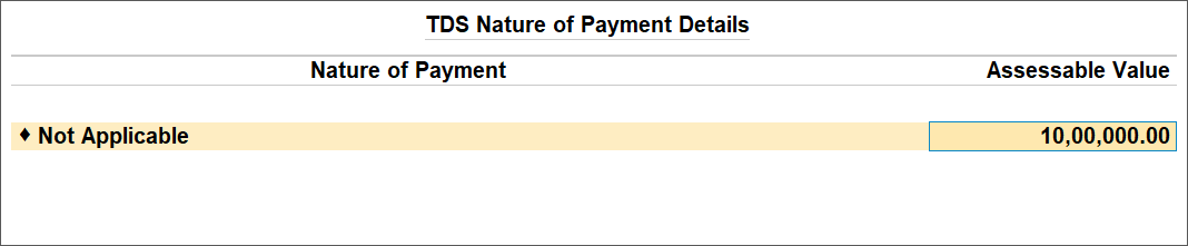TDS Nature of Payment Details Screen For Purchase Lower Than The Advance