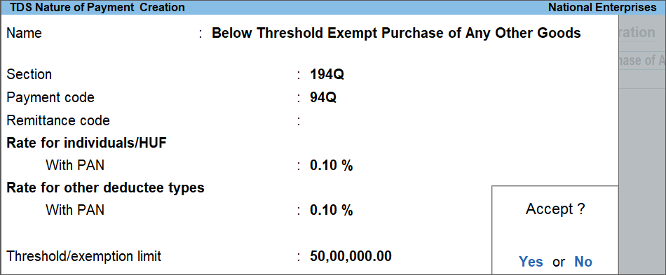 TDS Nature of Payment configured below the ThresholdLimit