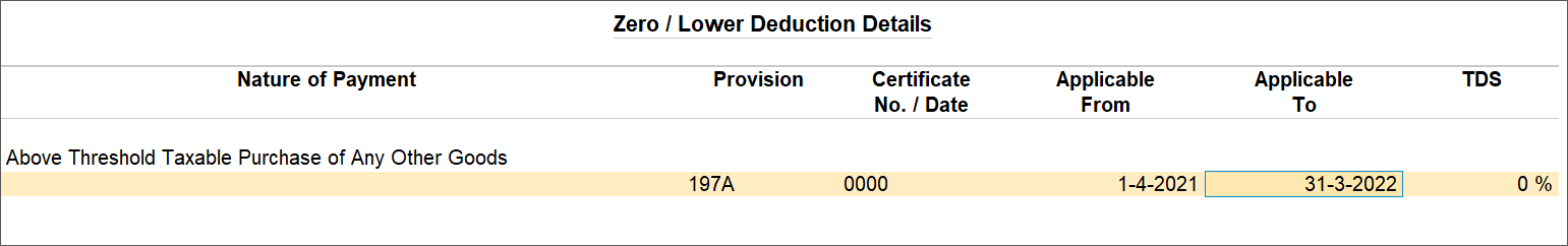 Zero/Lower Deduction Details Screen For Government-Lister Sellers