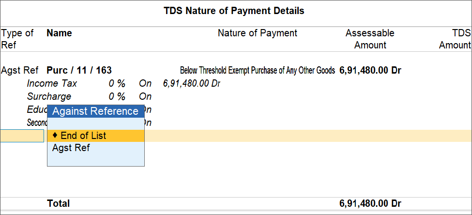 TDS Nature of Payment Details Screen For Purchase Return/Cancellation