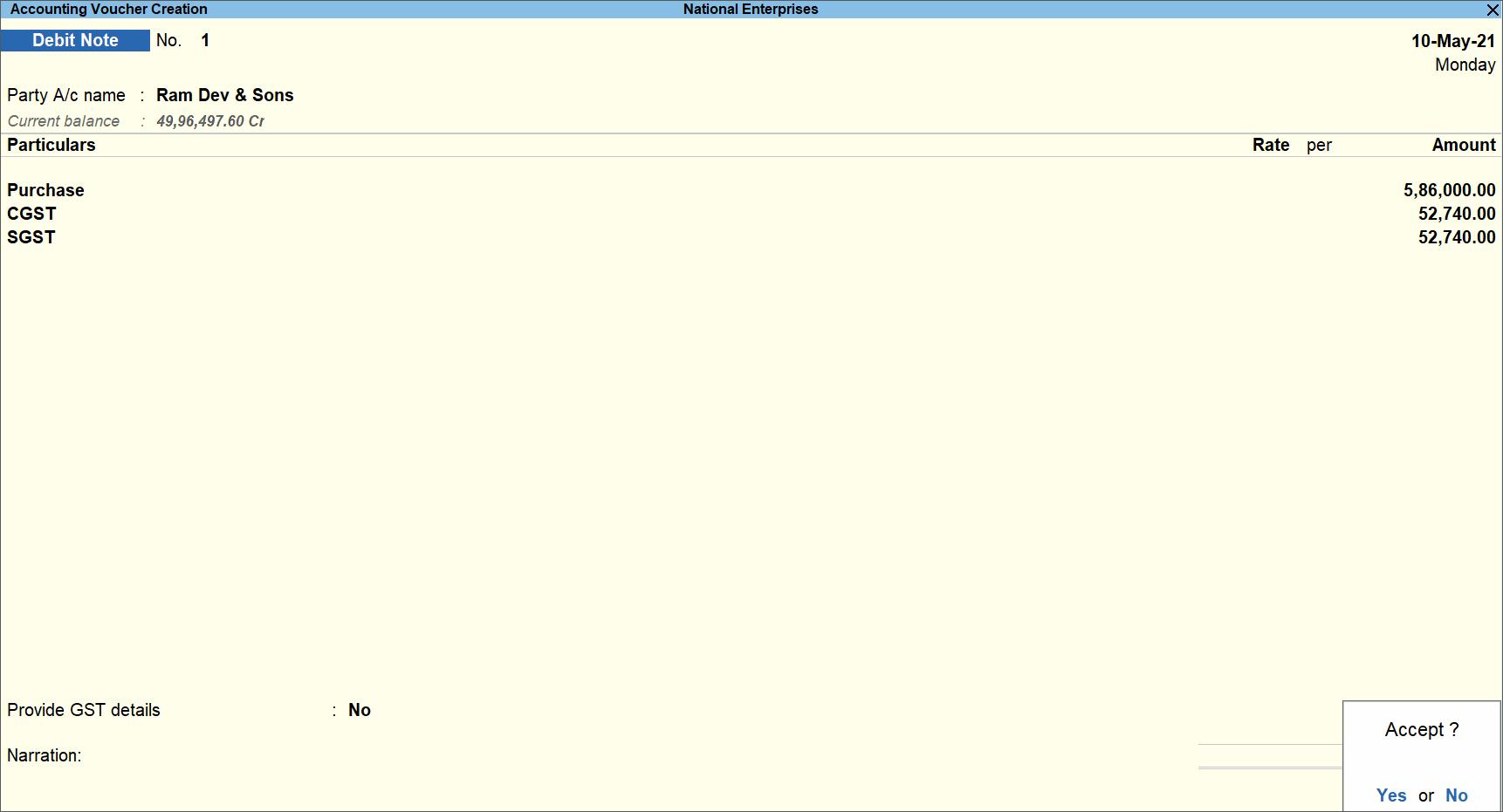 Debit Note Voucher Screen