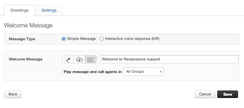 Configuring a welcome message