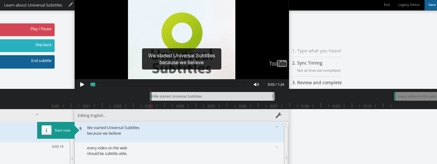 How to sync subtitles : Amara Support Center