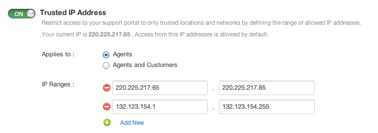 Using Trusted IP to restrict access to your support portal