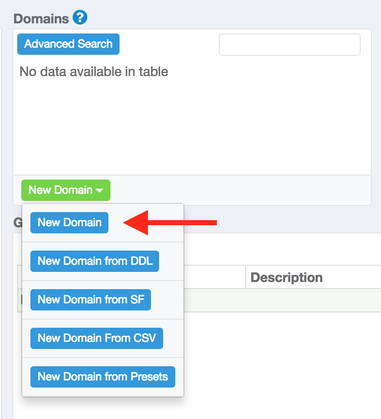 Red Arrow pointing at New Domain button