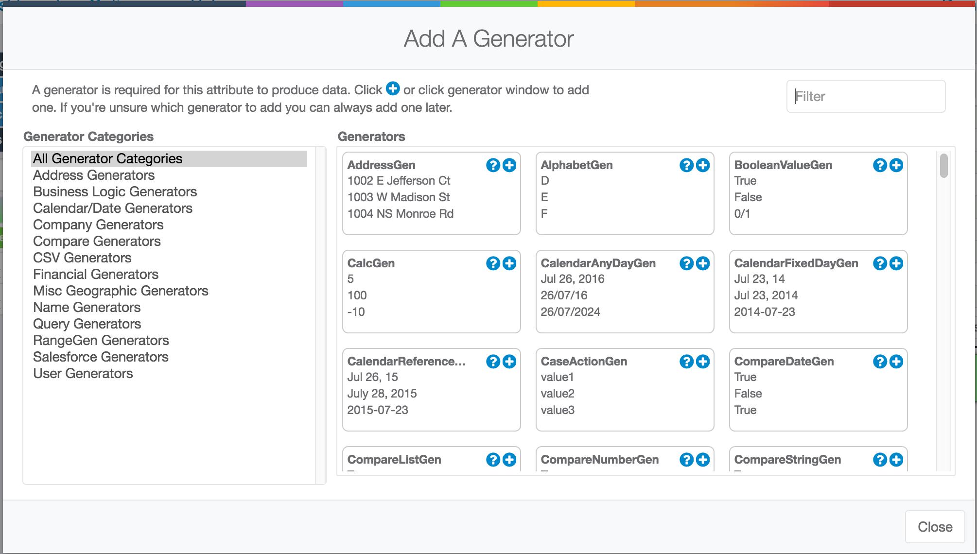 Add a Generator Dialog