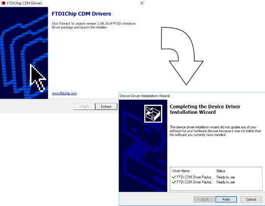 FTDIChip CDM Drivers installation wizard