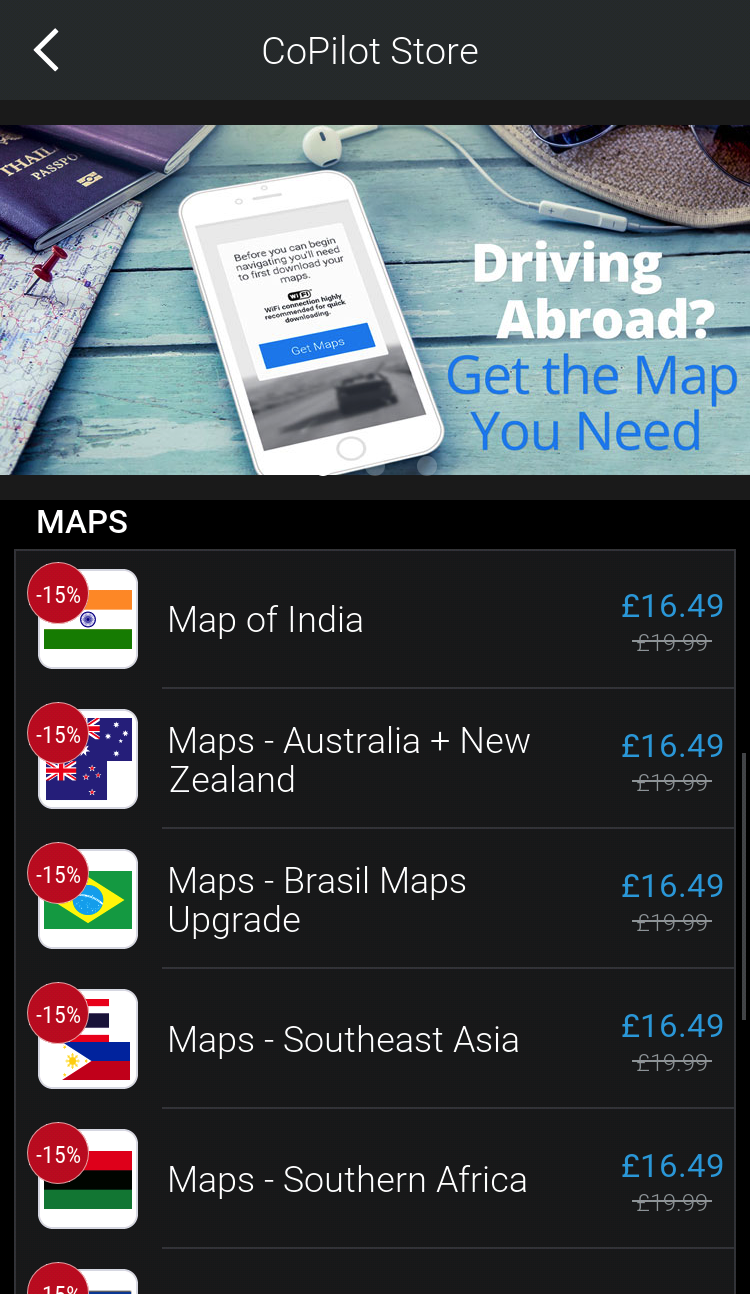 How to buy a new map : CoPilot App Stores