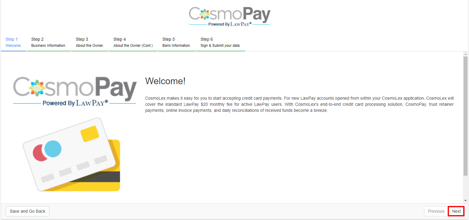 Enabling your lawpay integration no lawpay account cosmolex once taken to the next page you will be asked to follow the steps to create an account for cosmopay click next to fill out the application reheart Images