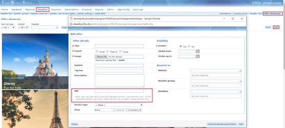 Offer showcase - URL option