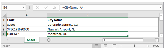 Using Spreadsheets: Getting Location Information (Postal Codes) : PC