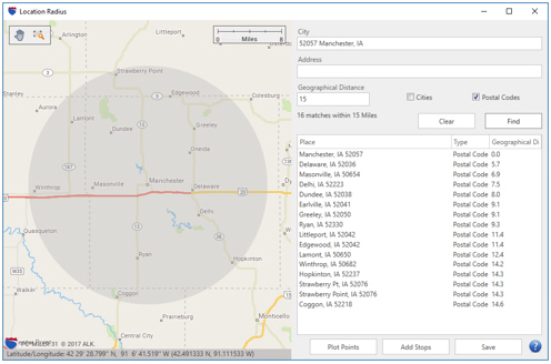 Guided Tour Day 1: Search a Location Radius : PC*MILER